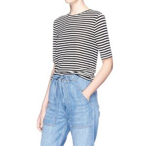 Vince Stripe Silk Blend Jersey T-Shirt